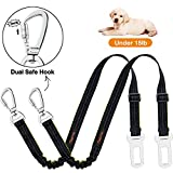iBuddy Dog Seat Belts for Cars of Small Dogs,Adjustable Pet Seat Belt for Dog Harness with Dual Safe Bolt Hook and Elastic Durable Nylon Dog Safety Belt for Car (for Small Dog)