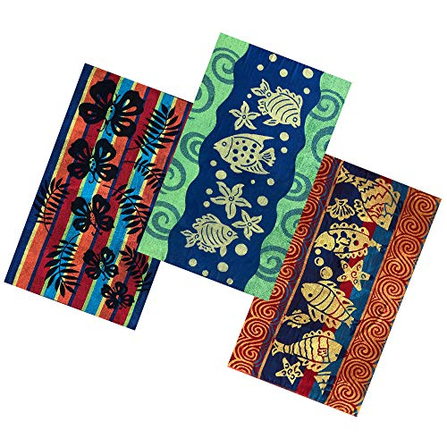 Espalma Tropical Oversized 3 Piece Jacquard Beach Towel Set - Extra Large 36 Inch x 68 Inch Absorbent Cotton Terry Bath Sheet, Pool and Spa Towel Set, 3 Piece Tropical Pattern Set
