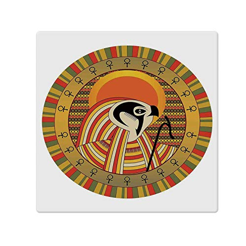 C COABALLA Egyptian Decor Comfortable Doormat,Ancient Egyptian Sun Figure in Colorful Design Spirit Animal Culture Illustration for Home Office,47.2