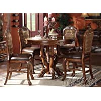 5pc Counter Height Dining Table & Stools Set in Brown Cherry Finish
