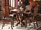 5pc Counter Height Dining Table & Stools Set in Brown Cherry Finish Review