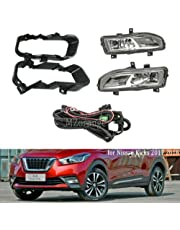 Clidr Bumper Light Fog Lamp for Nissan Kicks 2017 2018 2019 OE Style Bumper Fog Lights Wires Switch Driving Clear Lens