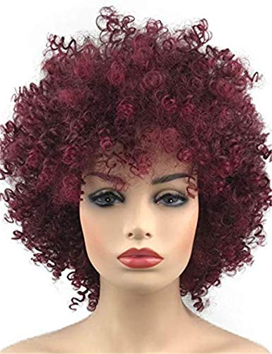 TopWigy Wine Red Curly Wig Afro Kinkys Curly Hair Short Bob Synthetic Heat Resistant Full Wigs for Black and White Women (Wine Red 14