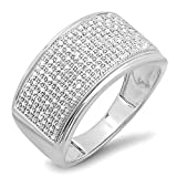 0.33 Carat (ctw) Sterling Silver Round Cut Diamond Men's Flashy Hip Hop Pinky Ring 1/3 CT (Size 10.5)
