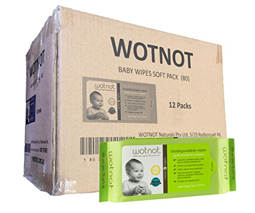 Wotnot Naturals Biodegradable Baby Wipes, 10 pack of 80 wipes (800 wipes) by WOTNOT