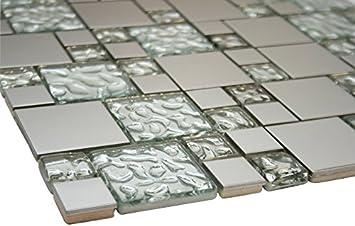 White Raindrop And Silver Metallic Square Glass Mosaic Tiles For Bathroom And Kitchen Walls Kitchen Backsplashes Amazon Com