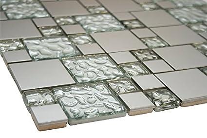White Raindrop and Silver Metallic Square Glass Mosaic Tiles ...