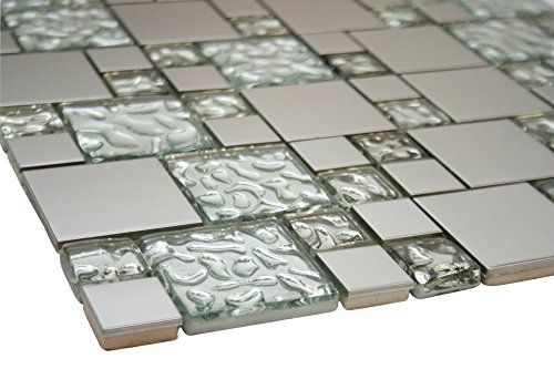 (White Raindrop and Silver Metallic Square Glass Mosaic Tiles for Bathroom and Kitchen Walls Kitchen Backsplashes)