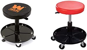 WEN 73012 300-Pound Capacity Pneumatic Rolling Mechanic Stool Seat & Pro-Lift C-3001 Pneumatic Chair with 300 lbs Capacity – Black/Red