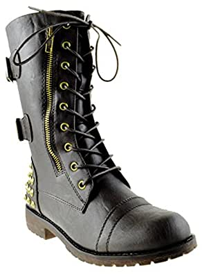 Rider 83 Womens Military Lace up Studded Combat Boot Brown 7
