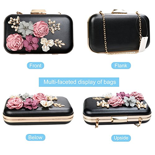black Evening Flower Women Clutch Purse Weddinghelper Bags Handbags Clutches O8tRxOSwq