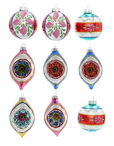 Christopher Radko Vintage Tree Ornaments Christmas Confetti 2.5 Decorated Rounds And Tulips With Reflectors