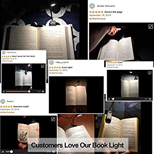 Book Light, PERFECTDAY 12 LED USB Rechargeable Reading Light with 3-Level Brightness for Eye Protection Night Reading Lamp
