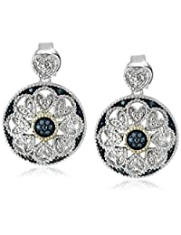 Sterling Silver and 14k Yellow Gold Blue Diamond Art Deco Round Earrings