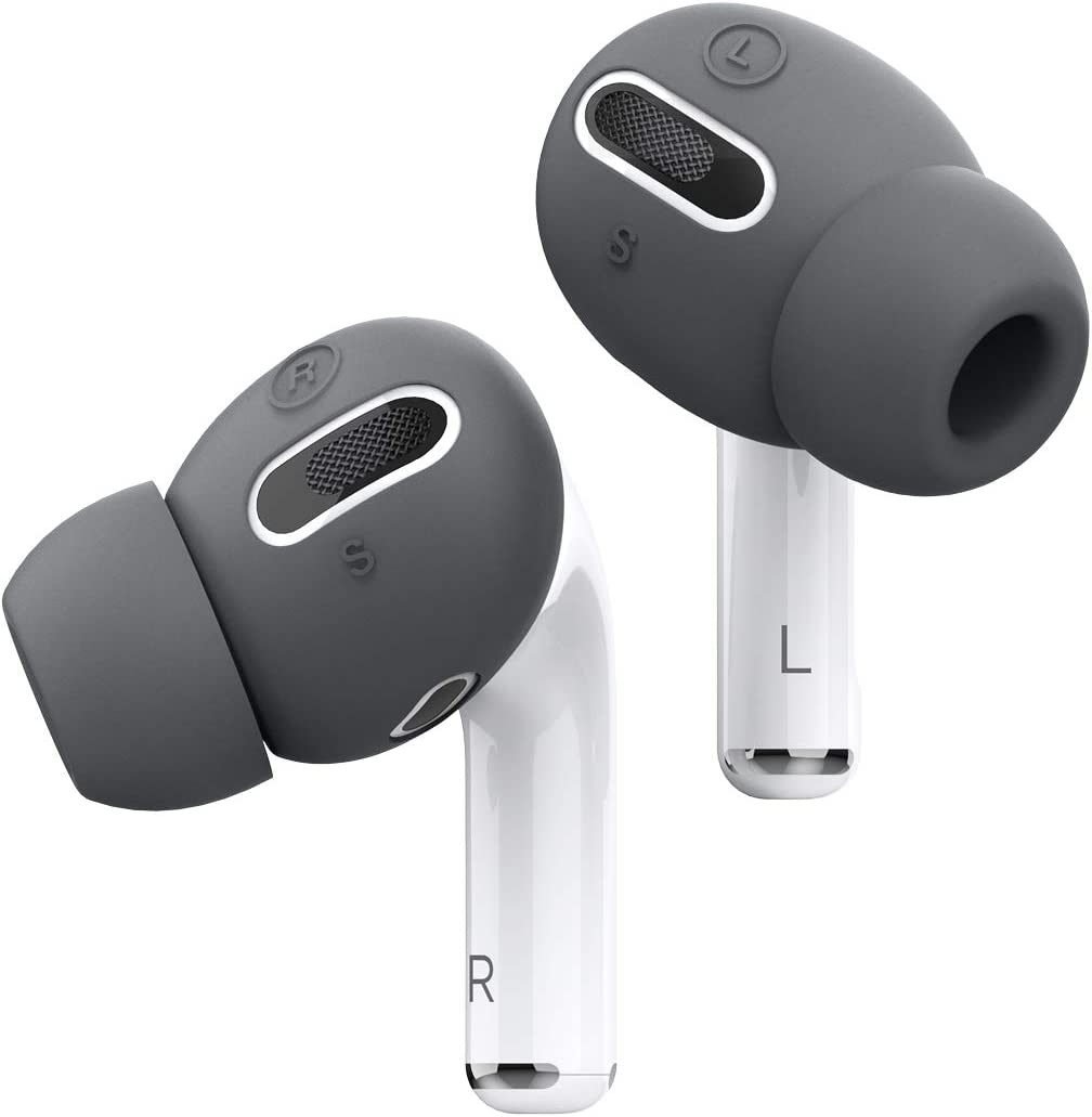 elago AirPods Pro Earbuds Cover Plus with Integrated Tips Designed for Apple AirPods Pro [Fit in The case] [6 Pairs: 2 Large + 2 Medium + 2 Small] (Dark Grey)