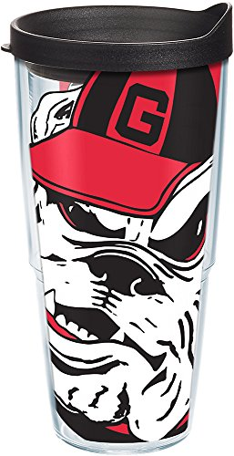Tervis 1084718 Georgia Bulldogs Mascot Colossal Tumbler with Wrap and Black Lid 24oz, Clear ()