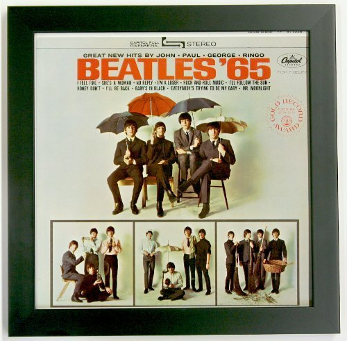 Record Album Sleeve Display Frame Featuring Solid Wood Frame and Glass Front (Not Plastic) (Black Frame)