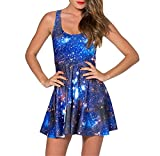 Sunling Women'Galaxy Skater Pleated Dresses for Party Summer Slim Plus Size Sleeveless XL
