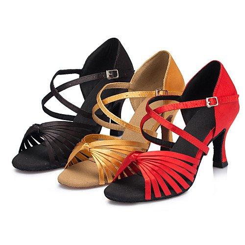 T da Salsa Ballroom Jazz Pratica Q Samba ballo da Nero raso Scarpe Performance Sandali Nero Altalena Giallo latini Tango indoor Tacco donna T in Rosso 1WUxrfTn1