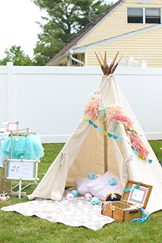 Tee Pee! Made-to-order of a durable natural-tone canvas and rustic real wood. As seen on Hostess with the Mostess!! ()