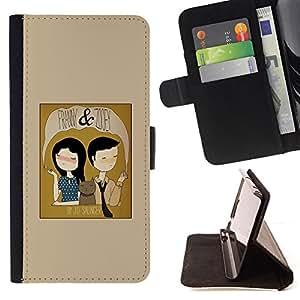BullDog Case - FOR/Samsung Galaxy S6 / - / GIRL BOY CAT FAMILY PORTRAIT ART FUNNY DRAWING /- Monedero de cuero de la PU Llevar cubierta de la caja con el ID Credit Card Slots Flip funda de cuer