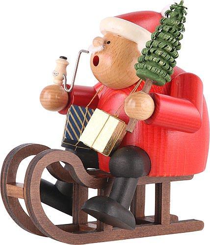 German Incense Smoker Santa Claus with sleigh - 18 cm / 7 inch - Authentic German Erzgebirge Smokers - KWO by Authentic German Erzgebirge Handcraft