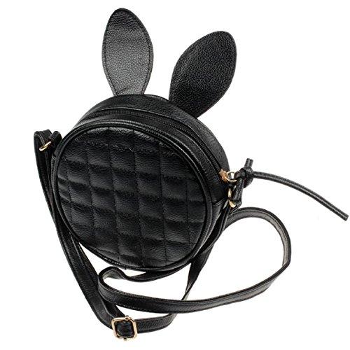Susenstone Della ragazza delle donne dellorecchio di coniglio rotonda borsa di cuoio del messaggero della spalla Mini Bag