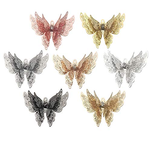Craft Supplies 7Pcs Mixed Butterfly Charms Pendants Beads Charms Pendants for Crafting, Jewelry Findings Making Accessory for DIY Necklace Bracelet M245