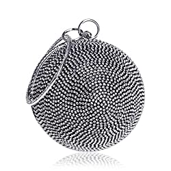 Ball Shape Clutch Purse With Black White Rhinestone & Ring Handle