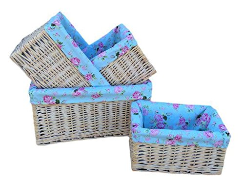 Set of 4 White Wash Cottage Rose Lined Storage Baskets by Red Hamper