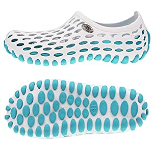 Amoji Shower Water Shoes River Aqua Sandals Summer Beach Outdoor Clogs Wet Sport Slip On Gym Female Men Women Ladies Girls Male WhiteBlue 9US Women/8US Men