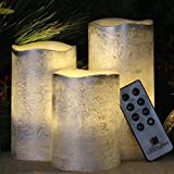 #3: Battery Operated LED Flameless Candles - Set of 3 Round Rustic Silver Coated Ivory Wax with Warm White Flame Flickering LED Candles, auto-off Timer Remote Control by LED Lytes Flameless Candles