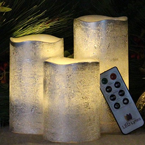 Battery Operated LED Flameless Candles – Set of 3 Round Rustic Silver Coated Ivory Wax with Warm White Flame Flickering LED Candles, auto-off Timer Remote Control by LED Lytes Flameless Candles