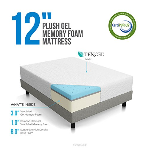 LUCID 12 Inch Gel Memory Foam Mattress - Triple-Layer - 4 Pound Density Ventilated Gel Foam - CertiPUR-US Certified - 10-Year Warranty - Queen