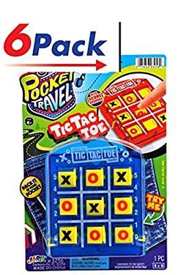 2GoodShop Pocket Travel Tic Tac Toe by JA-RU | Road Trip Games for Kids Pack of 6 | Item #3256