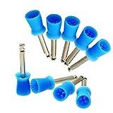 Denshine 100 PCS Dental Polishing Polish Prophy Cup Brush 4 Webbed Blue Color Latch Type