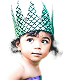Baby Girls Birthday Crown Mermaid Scales 1st 2nd 3rd 4th 5th 6th Fabric Hat Tiara Dress Up Costume Turquoise