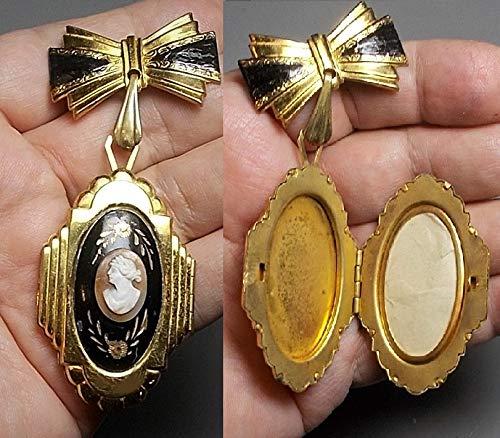 Vintage Art Deco style bronze flower bow heart necklace