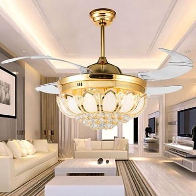 Ciamlir 4 leaf fan chandelier lighting petal crystal ceiling fan light transparent retractable leaf remote fan chandelier with LED light - interior, bedroom, bedroom