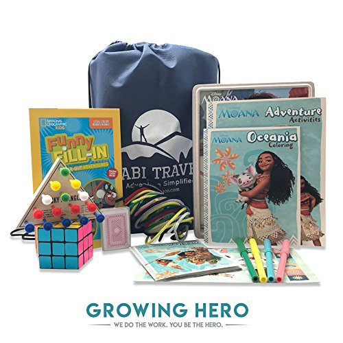 Travel Kit for Kids Deluxe | Road Trips or Plane Rides | Moana Activity Set, Triangle Peg Game, Chenille Sticks, Funny Word Fill-In Book, Cards, Puzzle Cube + Travel Adventure E-Book