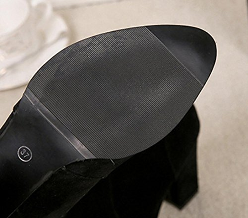 Malloom® Frauen Schnalle Damen Gürtel Faux Warme Stiefel Stiefeletten High Heels Martin Schuhe High-Heel Casual Matte Martin Stiefel Stiefel mit Reißverschluss Schwarz