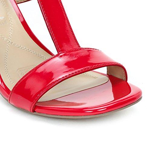 Alesya Scarpe & Scarpe - Sandal Med Bred Hæl Og T-bar, Med Hæle 8 Cm Rød