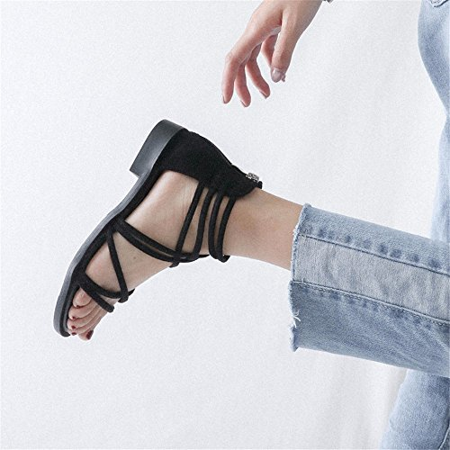 Toe Sandalias Antideslizante de UE Transversal Casual Moda Tira Toe 41 Damas Plain 35 Playa Shoes La EU YMFIE 47zn8wx0g