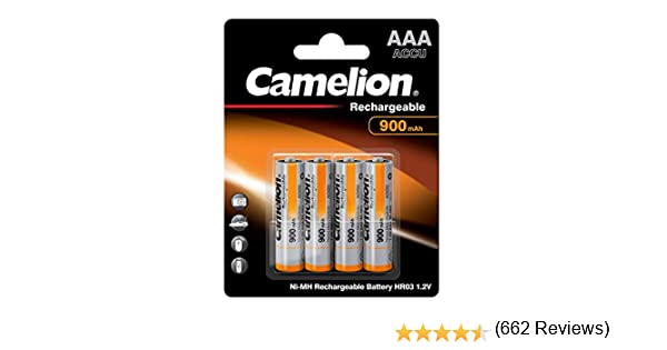 Camelion P4 - Pilas recargables AA / LR03 (900 mAh, Ni-MH, 4 ...
