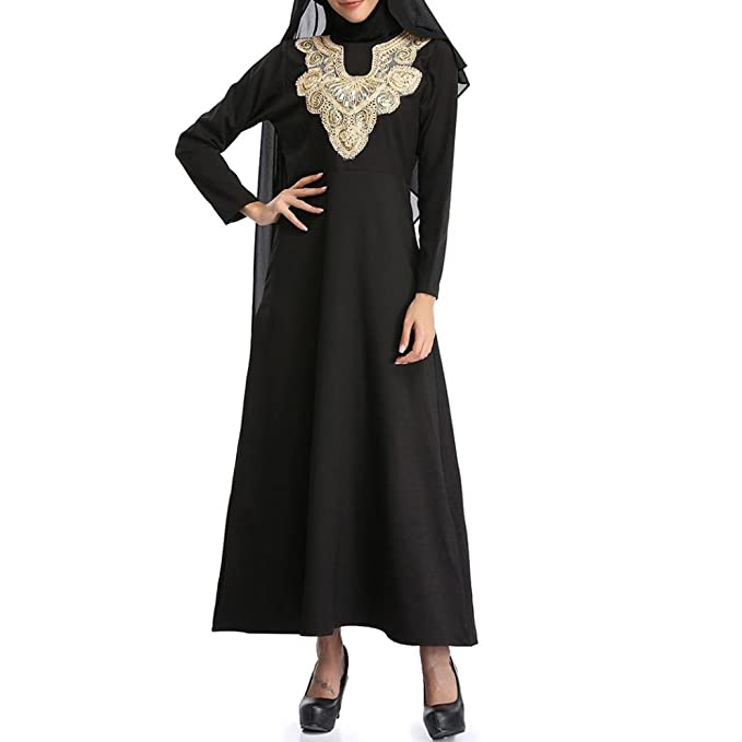 2018 Muslim Islamic Pure Color Embroider Plus Size Middle East Long Dress for Women at Amazon Womens Clothing store: