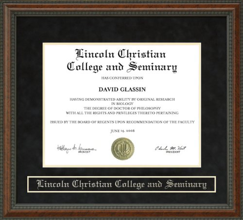 Lincoln Christian College and Seminary (LCCS) Diploma Frame - Burl by Wordyisms