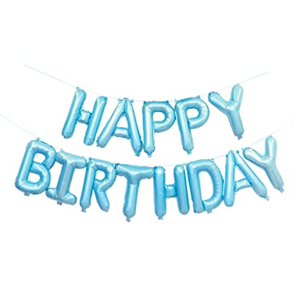 Amazon GOER Blue Happy Birthday Balloons16 Inch Foil Letter