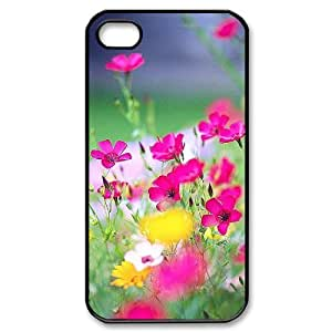 Custom Cover Case with Hard Shell Protection for Iphone 4,4S case with Beautiful Wildflowers lxa#423790