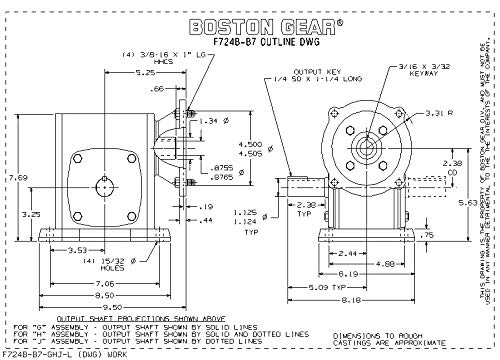 1.95 HP and 1233 in-lbs Output Torque at 1750 RPM 20:1 Ratio Boston Gear F724B20KB7J Right Angle Gearbox Left Output 2.38 Center Distance NEMA 140TC Flange Input