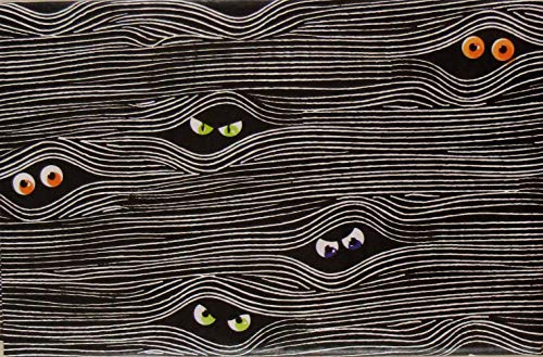 Scary Eyes in The Wood Halloween Vinyl Flannel Back Tablecloth (52